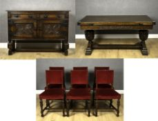 A 20th century rectangular oak draw leaf dining table, 152cm wide unextended x 76cm deep x 76cm high