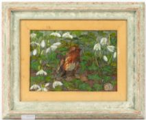 A robin amongst snowdrops, oil on canvas, 16.5cm x 24cm, mounted in a frame, overall 32cm x
