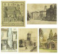 Jesus College University Oxford, 36cm x 40cm; Francis Nichols, watercolour; Mercy Lane Canterbury by