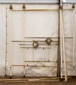 An early to mid 20th century brass four poster bed, the base 137.5cm wide x 185cm longCondition