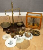 A collection of scales and weights to include pottery scale discs, one for Avery LimitedCondition