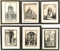 Bernard Cecil Gotch (1876-1963) Six Oxford city architectural scenes, woodcuts, to include St