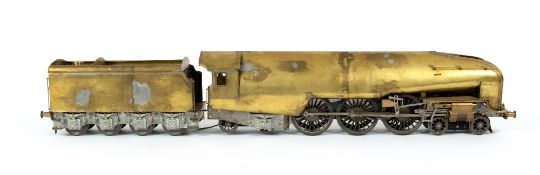 A part built model locomotive and tender overall 73cm length, with a fitted boxCondition report: