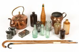 A collection of metalware, various old bottles, walking sticks etcCondition report: at present,