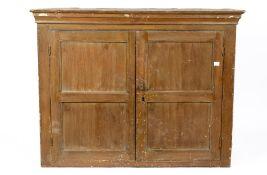 A 19th century pine two door cupboard, 130cm wide x 51cm deep x 99cm highCondition report: