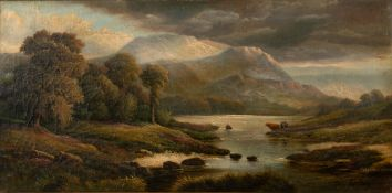Henry John Livens (1848-1943) cattle watering by a Scottish river, with mountains beyond, oil on