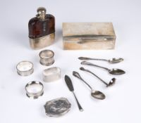 An early 20th century silver and leather bound hip flask , 9cm wide x 14cm high together with a