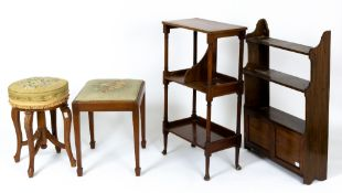 A small group of occasional furniture to include a late 19th century upholstered circular piano