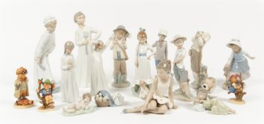 Porcelain figurines to include three small Lladro figures, eleven Nao figures and three Hummel
