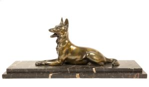 A spelter figure of a seater Alsation signed M.Font, mounted on a black marble base, overall 56.