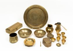 A collection of 19th century Islamic brassware to include two brass bowlsCondition report: The