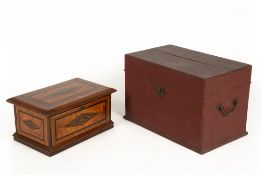 A Continental inlaid hardwood box with velvet lined interior and mirrored lid, 35cm wide together
