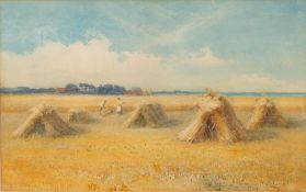 19th Century English school, Stooks in a cornfield, watercolour, unsigned, 27cm x 43.5cmCondition