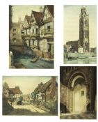 John Lewis Stant (1905-1964), Four coloured etchings to include St Botolphs church, 45cm x 25cm;