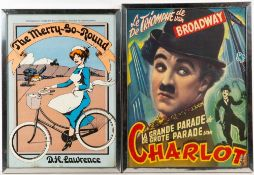 A collection of decorative prints to include a Charlie Chaplin poster, an etching by Anne
