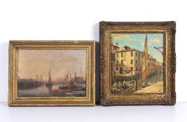 Continental canal scene, possibly Venice, oil on panel, initialled KM, 20cm x 18cm, mounted in a