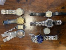 Eight wristwatches, to include an Omega Seamaster, mid century Kelton watch movement, a mid 20th