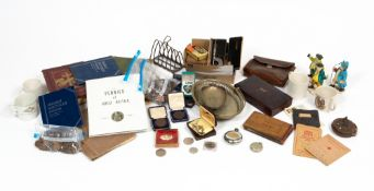 A miscellaneous quantity of ornaments and other items to include a white metal continental pocket