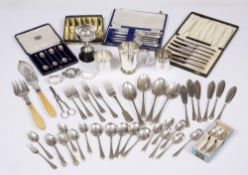 A cased set of silver coffee spoons, two napkin rings, a silver small fork and spoon and a