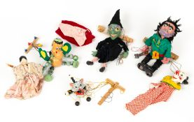 A group of four Pelham puppets consisting of a baby dragon complete with box, a giant, a witch and a