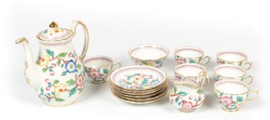 A Victorian Chelsea part coffee / tea service to include five cups, six saucers, a sugar bowl, a