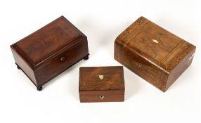 A 19th century mahogany box with a Bramah type lock and turned ebony feet, 29.5cm wide x 19cm deep x