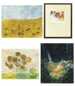 Sue Kavanagh, 'Wind over a poppy field' and 'Still life with Marigolds', coloured prints, both