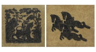 A pair of early 20th century Eastern hand printed pictures depicting horses and a lion, the