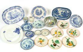 A collection of antique ceramics consisting of a Wedgwood Jasper ware jardiniere, 20.5cm diameter