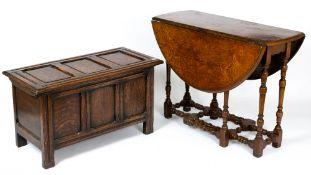 An antique drop leaf gateleg table, 94cm wide x 41cm deep (flaps down) x 74cm high together with
