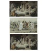 A set of three decorative prints with gilded gesso frames, each 60cm wide x 46cm highCondition