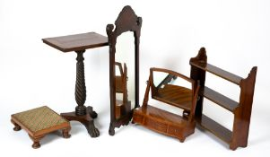 A small group of furniture to include a 19th century walnut fret carved wall mirror, 46cm wide x
