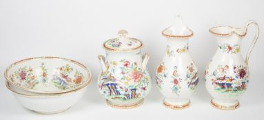 A late 19th / early 20th century wash set to include a large twin handled jar and cover with a