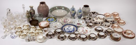 A collection of china and glass to include Crown Derby type part porcelain tea set, a tin glazed
