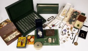 A small collection of costume jewellery and jewellery to include a 9 carat gold Mizpah ring; a micro