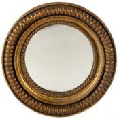 A 19th century gilded gesso circular wall mirror, 51cm diameterCondition report: In good condition