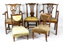 Five antique chairsCondition report: Marks and wear