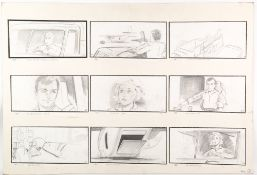 .A series of nineteen original pencil drawn James Bond story boards from 'The Living Daylights',