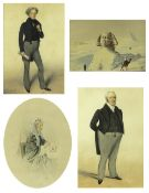 Albin Roberts Burt (1783-1842) portrait watercolours, the largest 29cm x 18cm, all framed and glazed