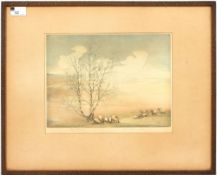 Alice G.C. Barnwell The Wolds, coloured etching, artists proof, signed in pencil, 22cm x 30.5cm,
