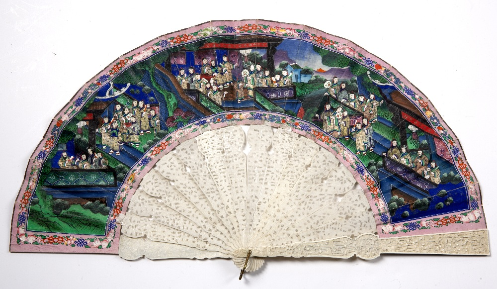 Ivory and painted brise fan Chinese, 19th Century the paper decorated with a village scene within - Image 2 of 2