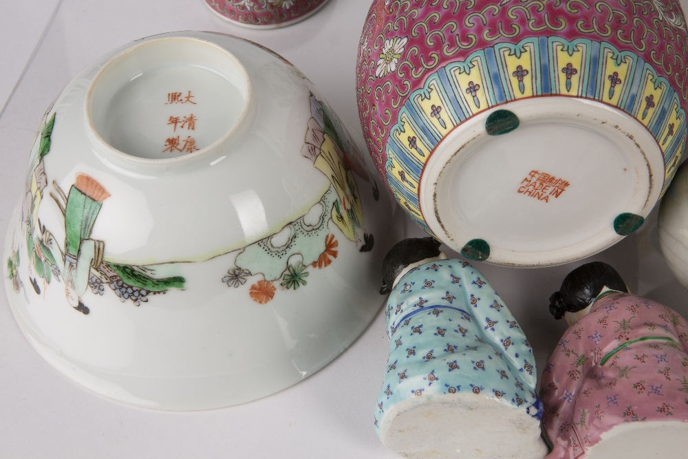 Group of ceramics Chinese including a famille verte calligraphy teapot, 20cm high, a famille verte - Image 3 of 9