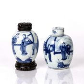 Two blue and white jars Chinese, Kangxi period (1662 - 1722) the first decorated to the body with
