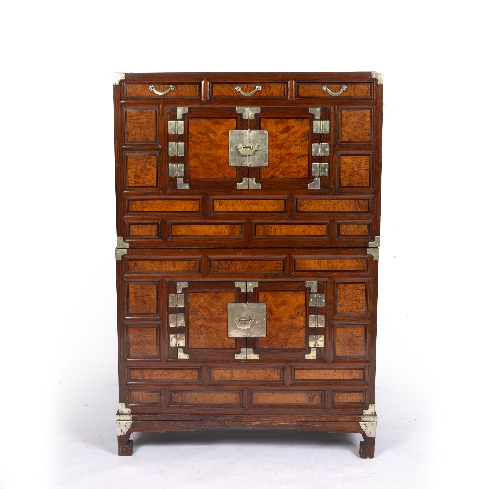 Two unit stacked chest (ich'ung nong) Korean, 19th Century with burl wood panel fronts and brass