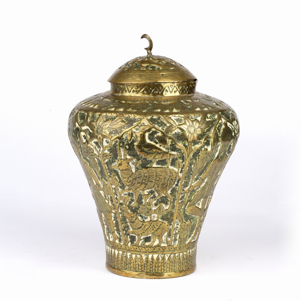 Qajar brass pot and cover Iran embossed with figures and animals and crescent finial, 30cm high - Image 2 of 5