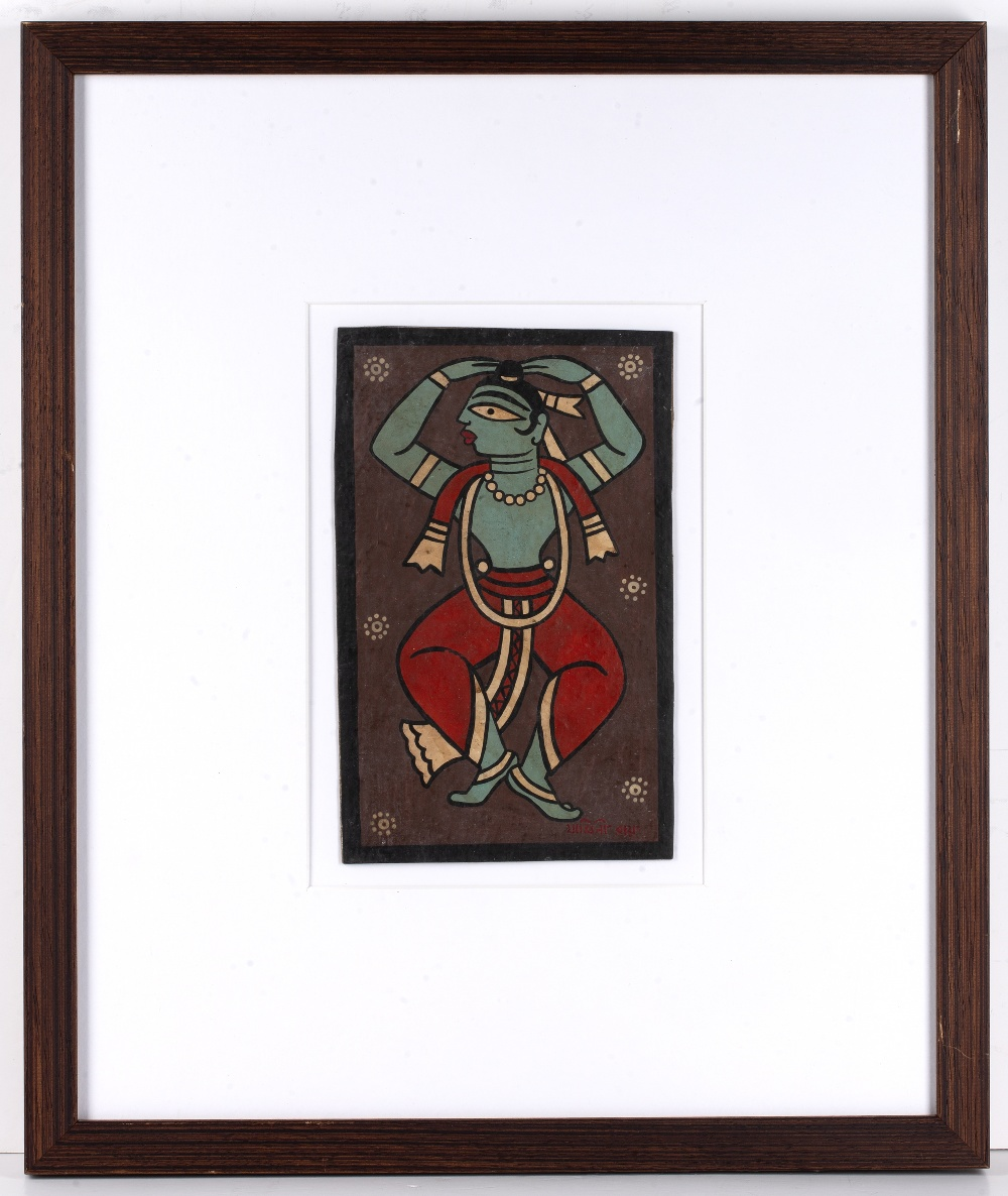 Jamini Roy (1887-1972) Dancer, painted on card, signed lower right, framed and glazed, 21.5cm x 14cm - Image 2 of 3