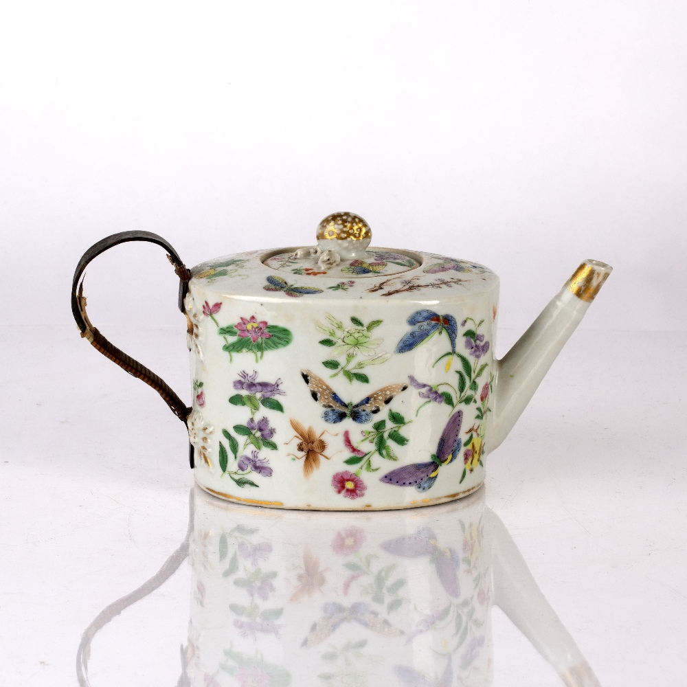 Famille rose teapot and cover Chinese, 19th Century decorated to the exterior with colourful - Image 2 of 4