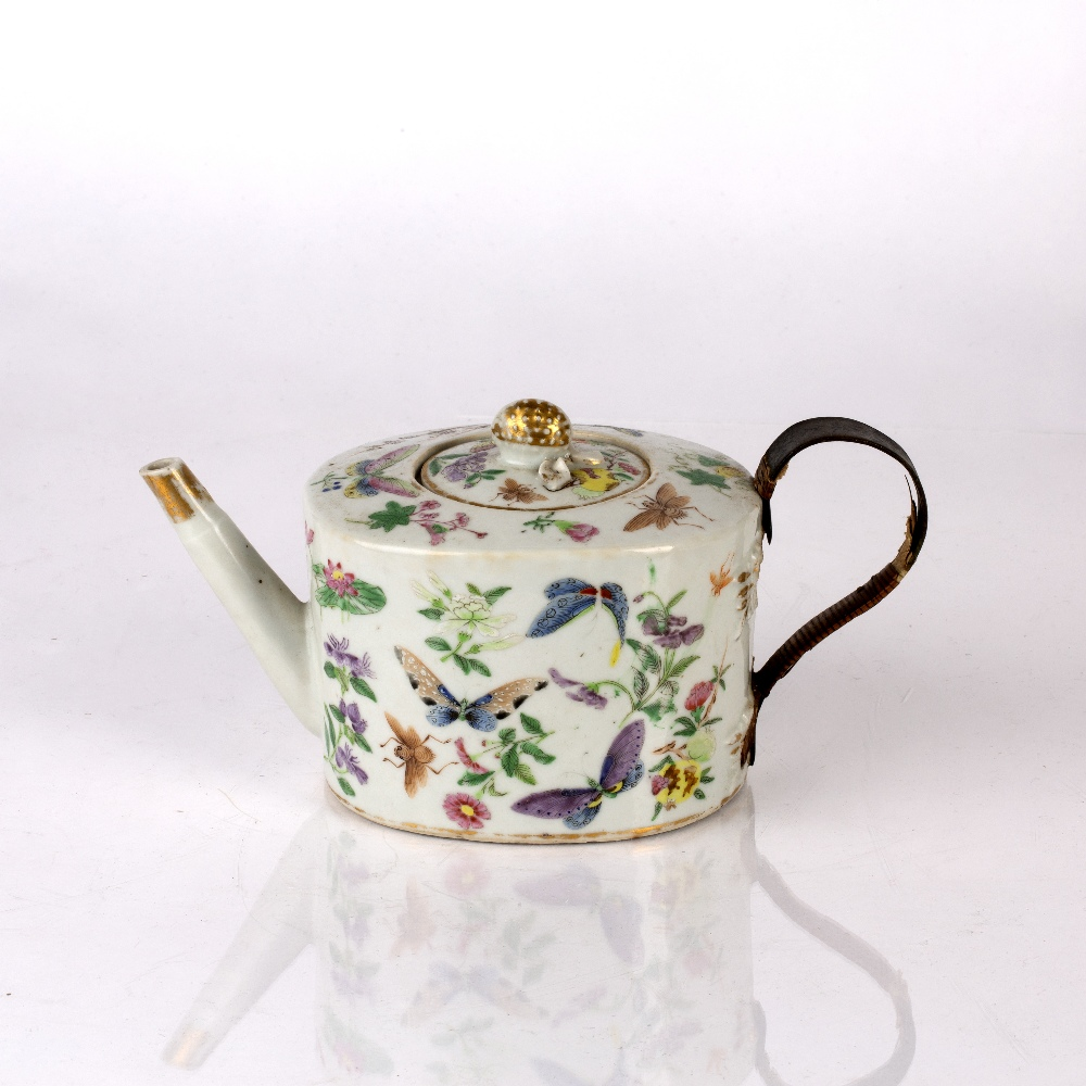Famille rose teapot and cover Chinese, 19th Century decorated to the exterior with colourful