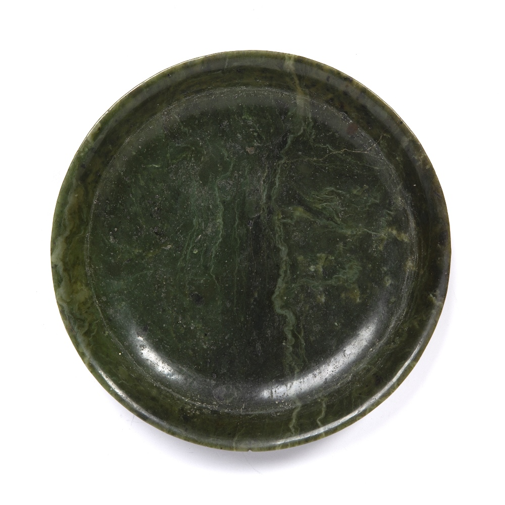 Nephrite jade shallow dish Chinese, 19th Century the dish with raised rim, on a hardwood stand, 25cm - Image 3 of 5