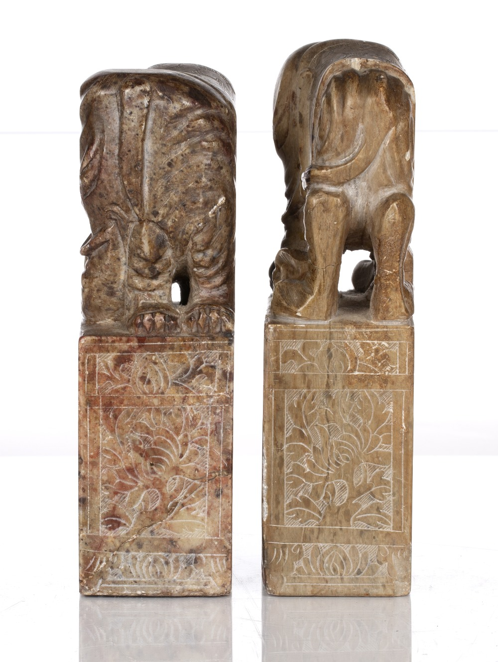 Pair of soapstone seals Chinese, 19th Century each with elephant mounts and having engraved sides, - Image 4 of 5